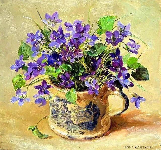 静物花卉,英国画家安妮·科特里尔插图37