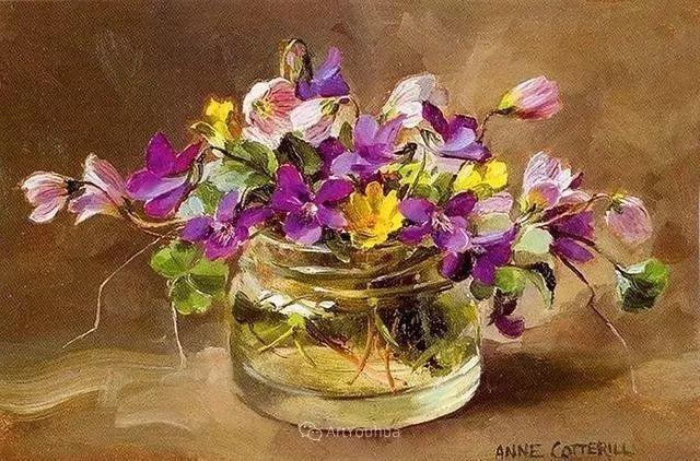 静物花卉,英国画家安妮·科特里尔插图41