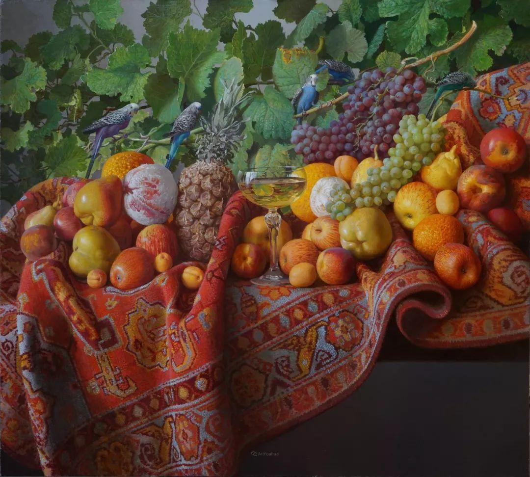 非常丰盛,静物水果!俄罗斯画家亚历山大·赛义多夫作品一插图2