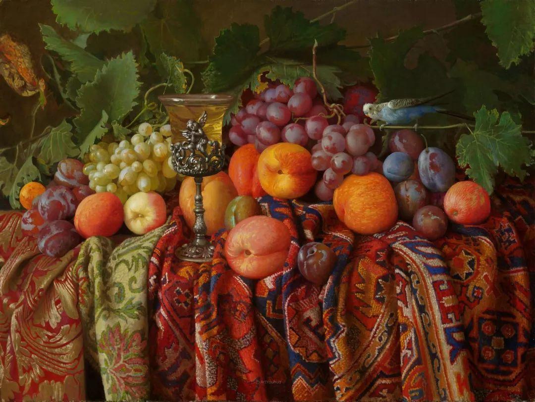 非常丰盛,静物水果!俄罗斯画家亚历山大·赛义多夫作品一插图3