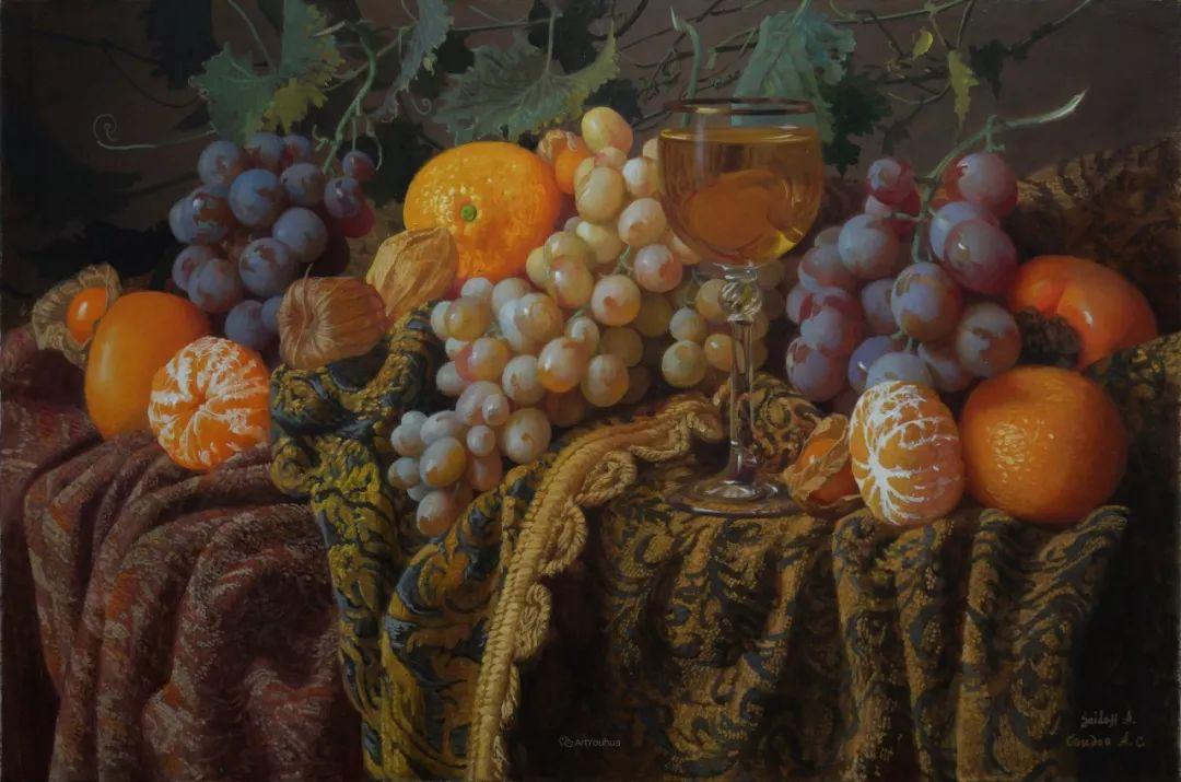 非常丰盛,静物水果!俄罗斯画家亚历山大·赛义多夫作品一插图5