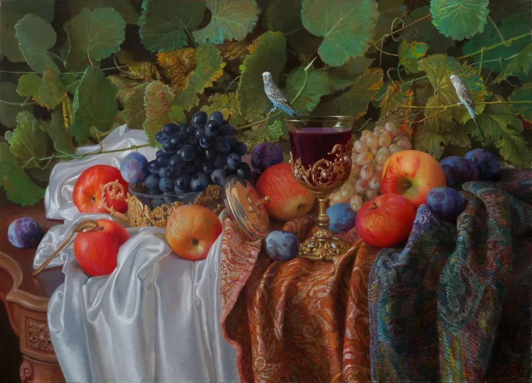 非常丰盛,静物水果!俄罗斯画家亚历山大·赛义多夫作品一插图6
