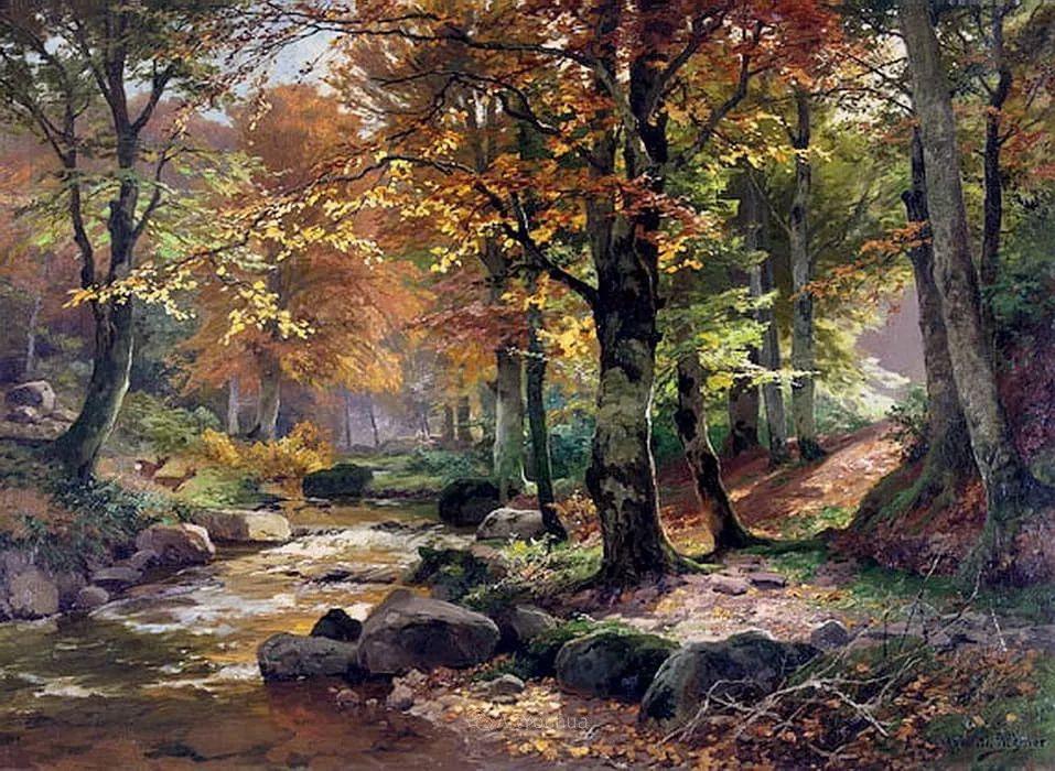 茂密森林,德国画家Heinrich Bohmer作品插图