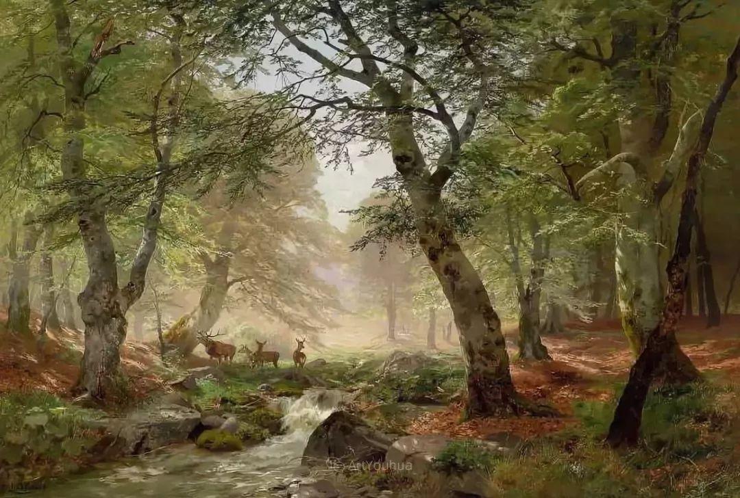 茂密森林,德国画家Heinrich Bohmer作品插图1