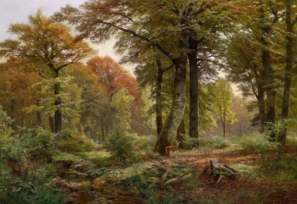 茂密森林,德国画家Heinrich Bohmer作品插图2