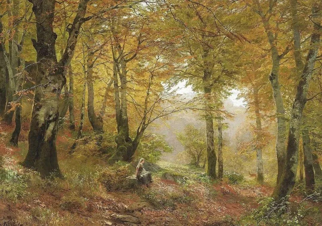 茂密森林,德国画家Heinrich Bohmer作品插图4