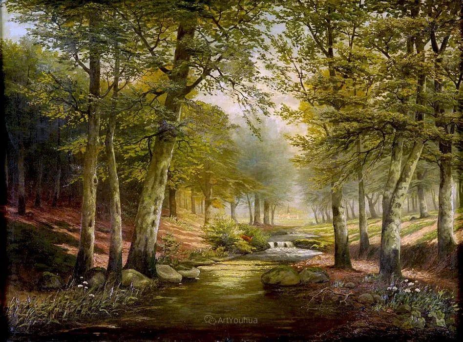 茂密森林,德国画家Heinrich Bohmer作品插图6
