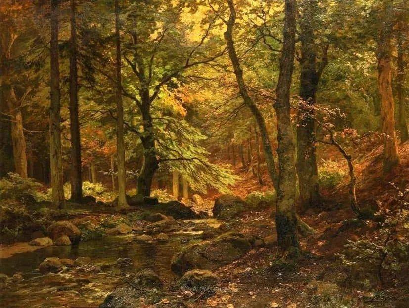 茂密森林,德国画家Heinrich Bohmer作品插图8