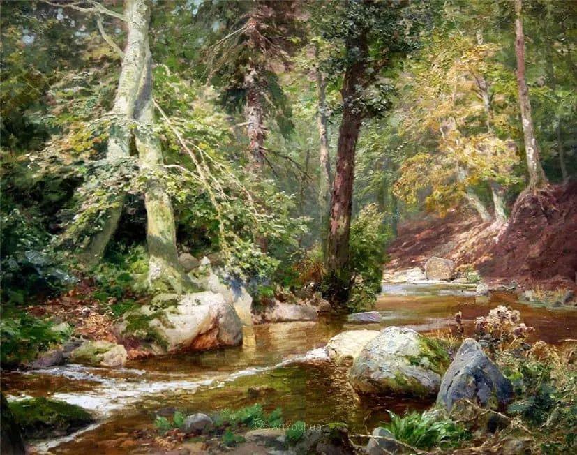 茂密森林,德国画家Heinrich Bohmer作品插图9
