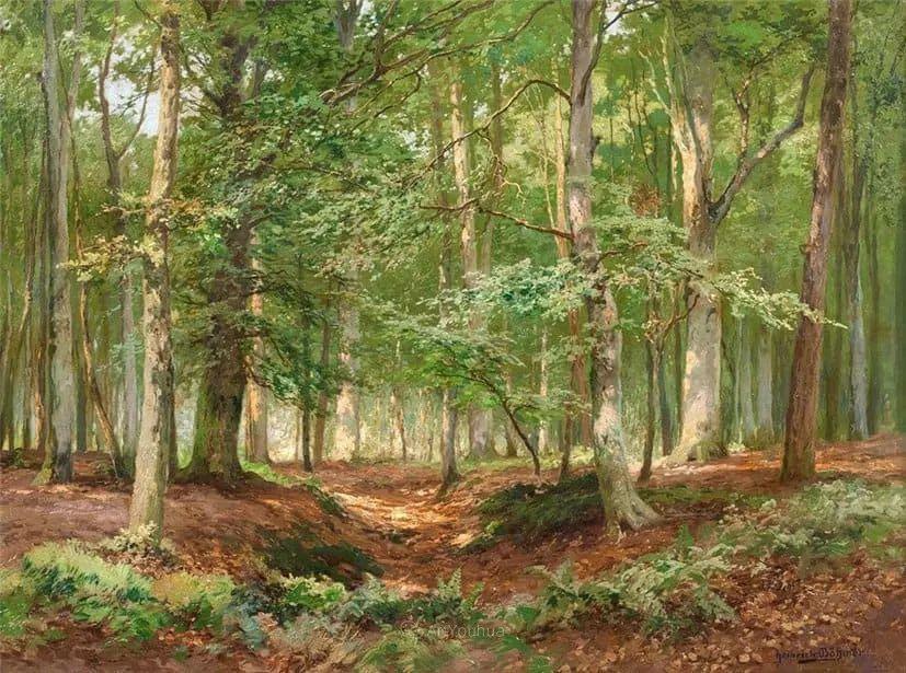 茂密森林,德国画家Heinrich Bohmer作品插图10