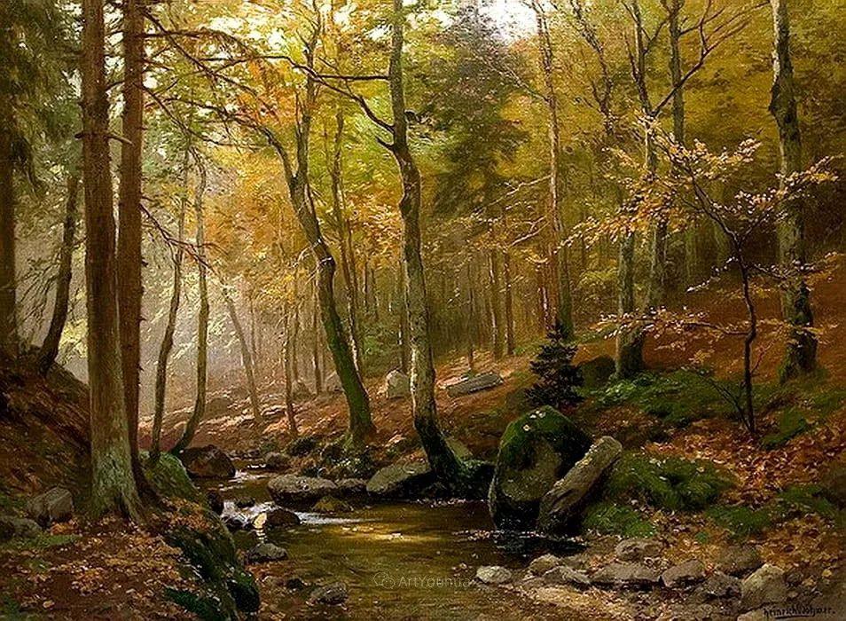 茂密森林,德国画家Heinrich Bohmer作品插图11