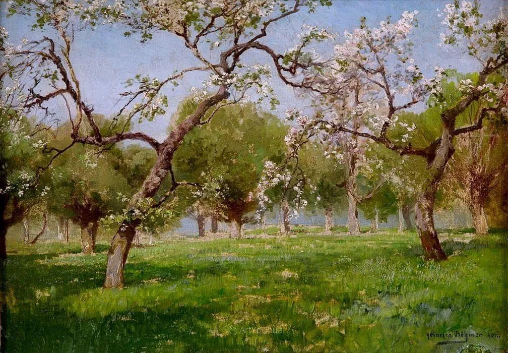 茂密森林,德国画家Heinrich Bohmer作品插图12