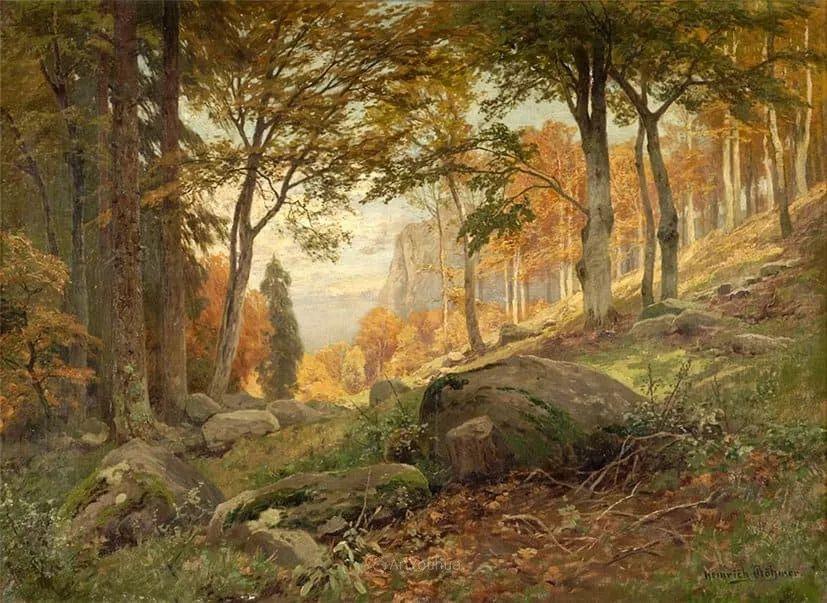 茂密森林,德国画家Heinrich Bohmer作品插图13