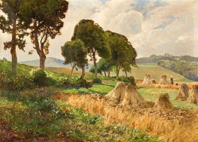 茂密森林,德国画家Heinrich Bohmer作品插图14