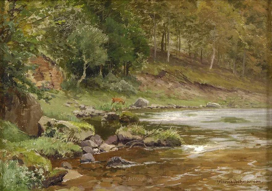 茂密森林,德国画家Heinrich Bohmer作品插图15