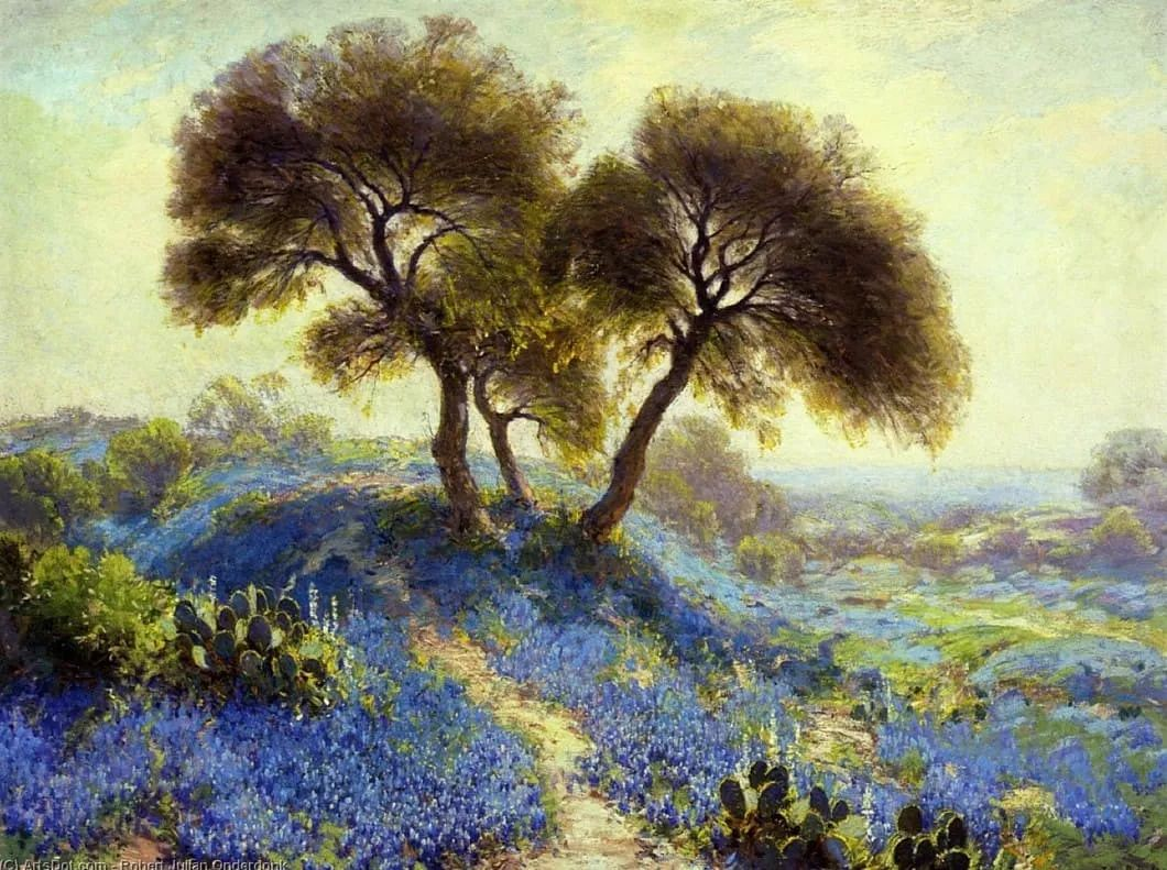 蓝色风景,美国画家罗伯特·朱利安·昂德登克插图1
