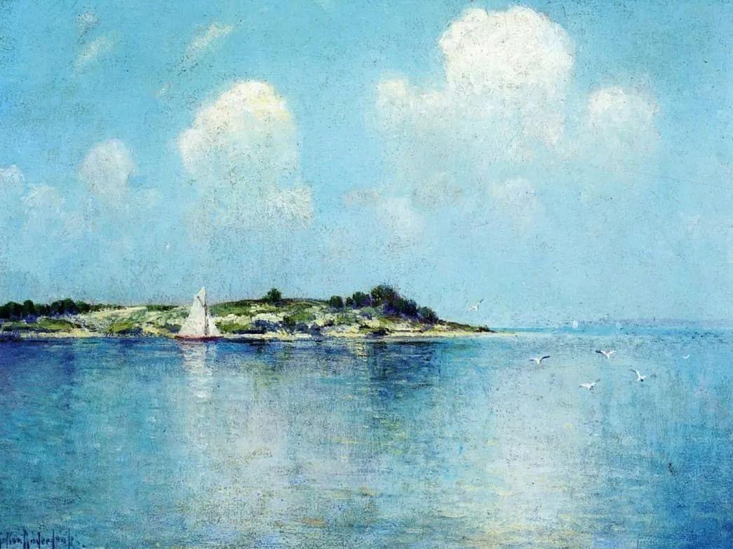 蓝色风景,美国画家罗伯特·朱利安·昂德登克插图7