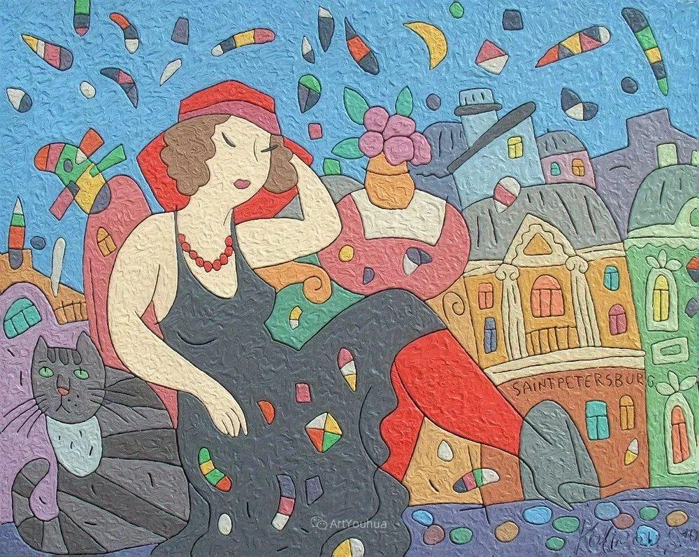天真抒情表现主义,Sergey Kotinov和Galina Kotinova作品欣赏插图32