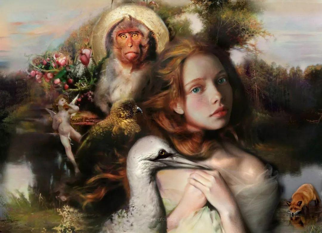 传统绘画与后现代元素的结合,英国画家伊娃·特洛伊插图