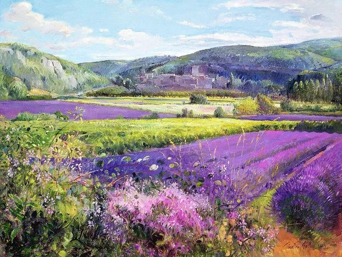 太美了!缤纷斑斓的英伦风情花园,画家蒂莫西·伊斯顿的风景画美到迷了眼!插图1
