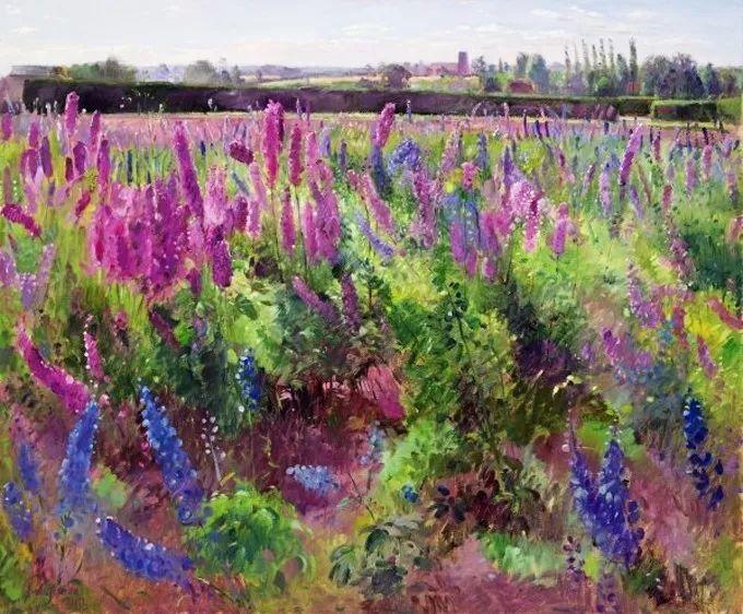 太美了!缤纷斑斓的英伦风情花园,画家蒂莫西·伊斯顿的风景画美到迷了眼!插图2