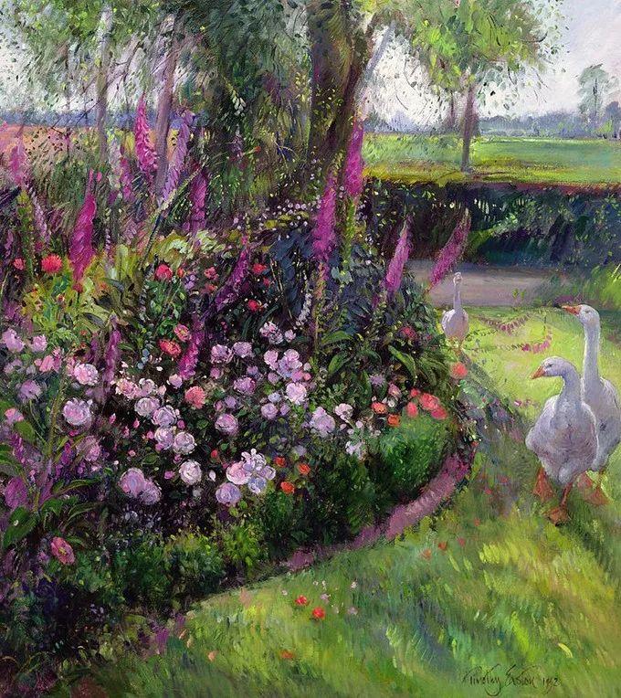 太美了!缤纷斑斓的英伦风情花园,画家蒂莫西·伊斯顿的风景画美到迷了眼!插图8