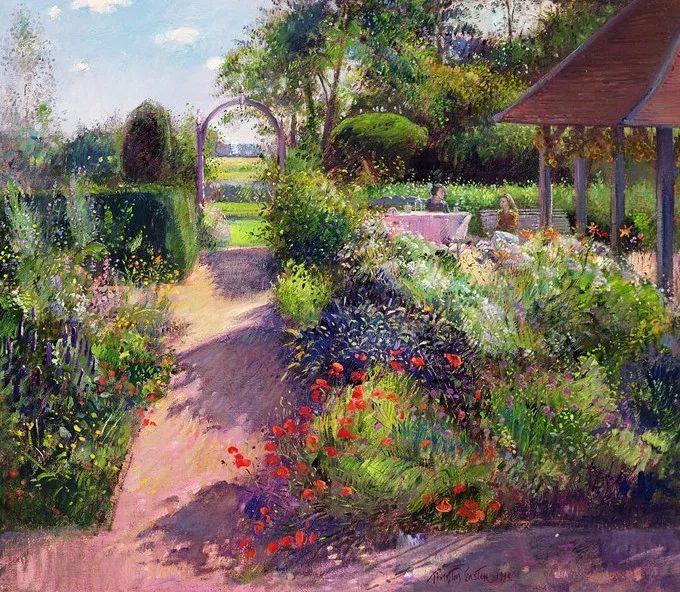 太美了!缤纷斑斓的英伦风情花园,画家蒂莫西·伊斯顿的风景画美到迷了眼!插图10