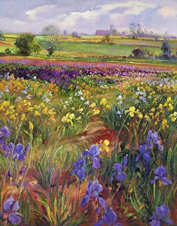 太美了!缤纷斑斓的英伦风情花园,画家蒂莫西·伊斯顿的风景画美到迷了眼!插图12