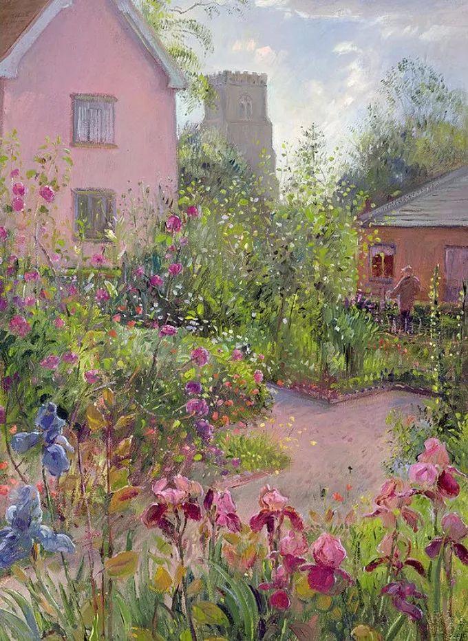 太美了!缤纷斑斓的英伦风情花园,画家蒂莫西·伊斯顿的风景画美到迷了眼!插图24