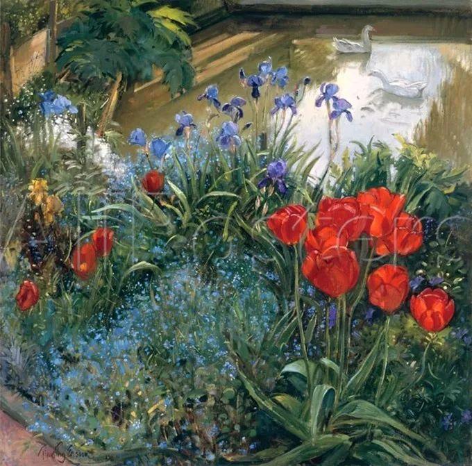 太美了!缤纷斑斓的英伦风情花园,画家蒂莫西·伊斯顿的风景画美到迷了眼!插图36