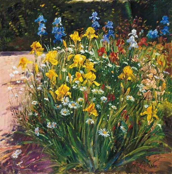 太美了!缤纷斑斓的英伦风情花园,画家蒂莫西·伊斯顿的风景画美到迷了眼!插图37