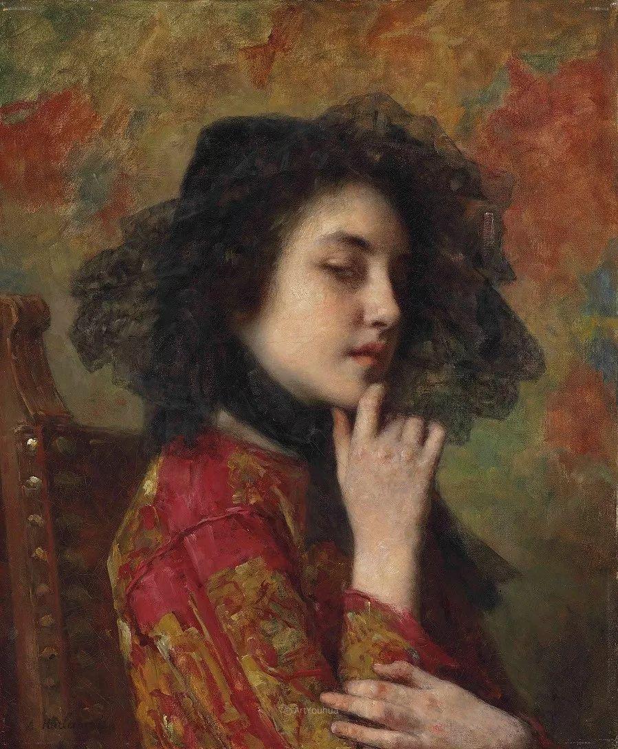 他笔尖犹如天籁,唯美的意境下宛若天仙的女性肖像画插图19