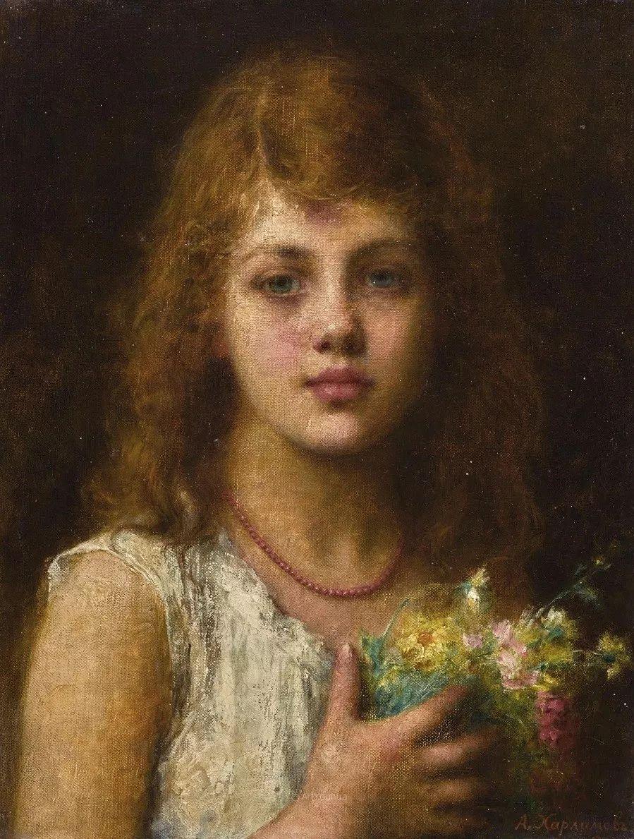 他笔尖犹如天籁,唯美的意境下宛若天仙的女性肖像画插图33