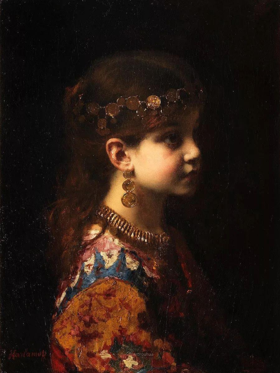 他笔尖犹如天籁,唯美的意境下宛若天仙的女性肖像画插图37