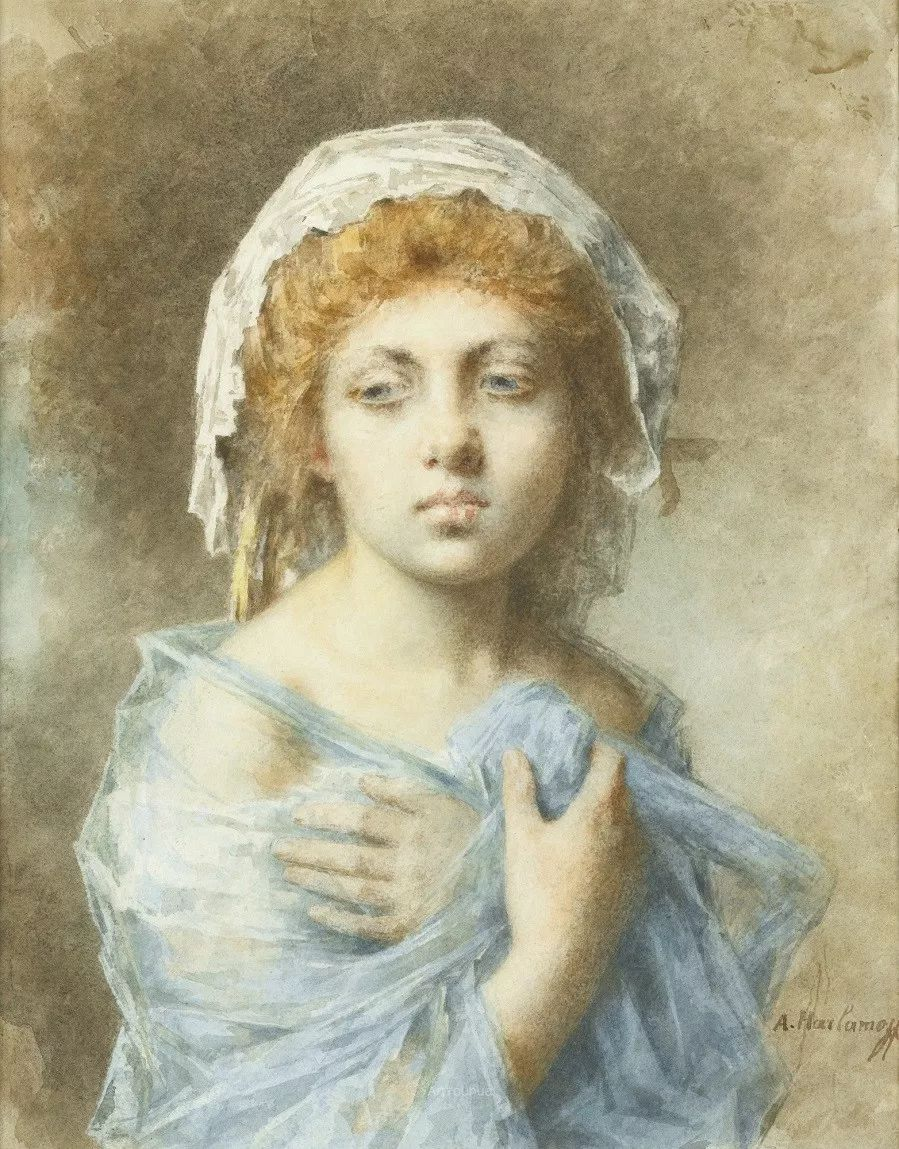 他笔尖犹如天籁,唯美的意境下宛若天仙的女性肖像画插图49