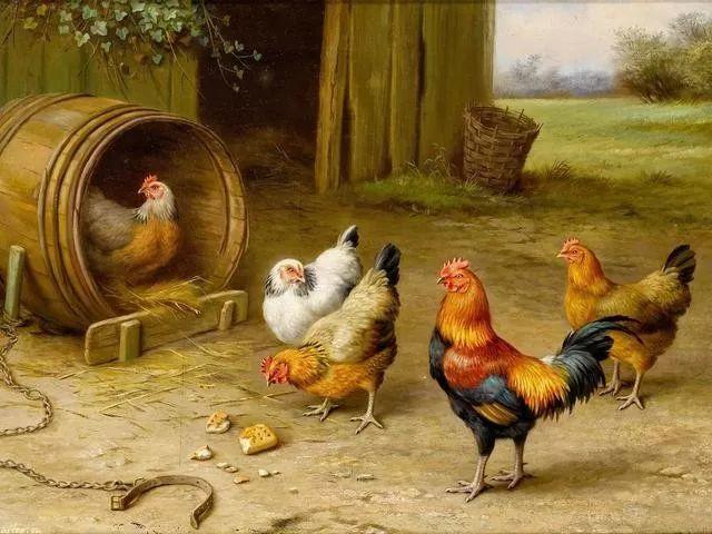 院子里的家禽,英国画家埃德加·亨特插图1