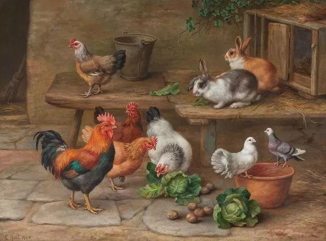 院子里的家禽,英国画家埃德加·亨特插图3