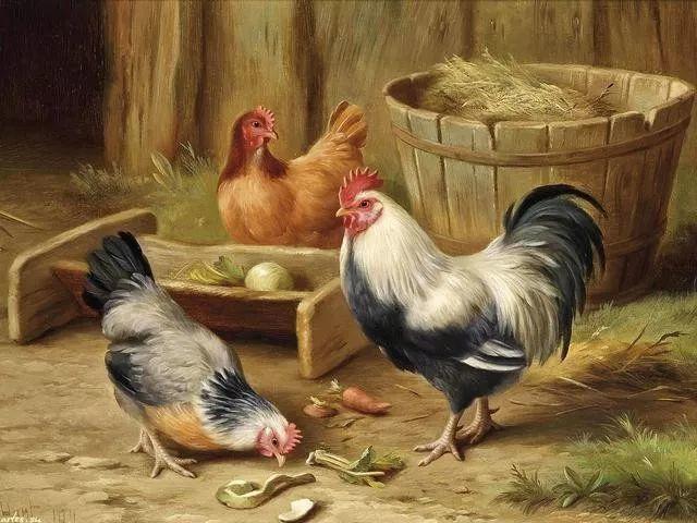 院子里的家禽,英国画家埃德加·亨特插图5