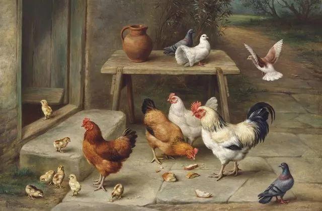院子里的家禽,英国画家埃德加·亨特插图11