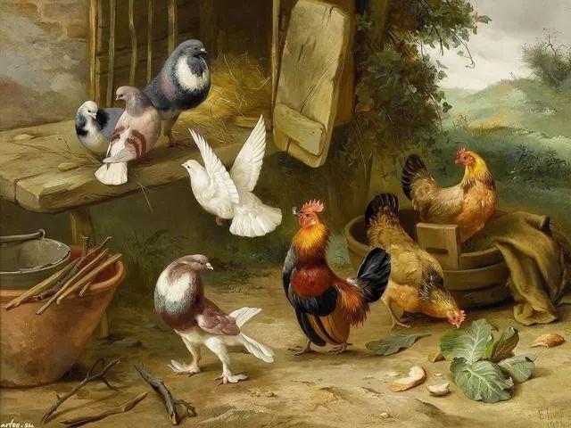 院子里的家禽,英国画家埃德加·亨特插图13