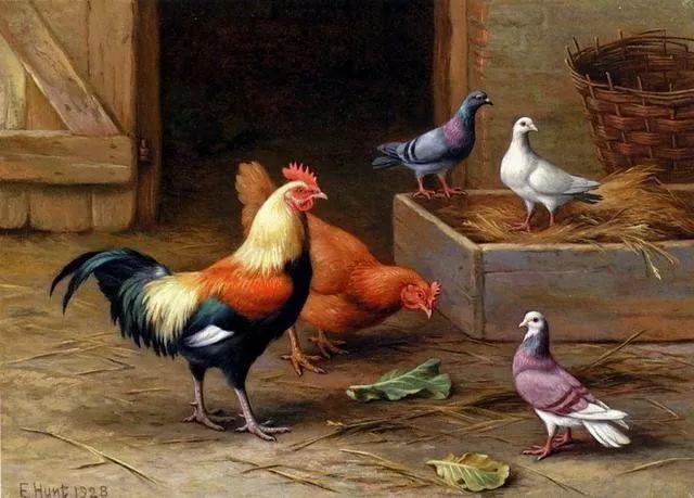 院子里的家禽,英国画家埃德加·亨特插图17