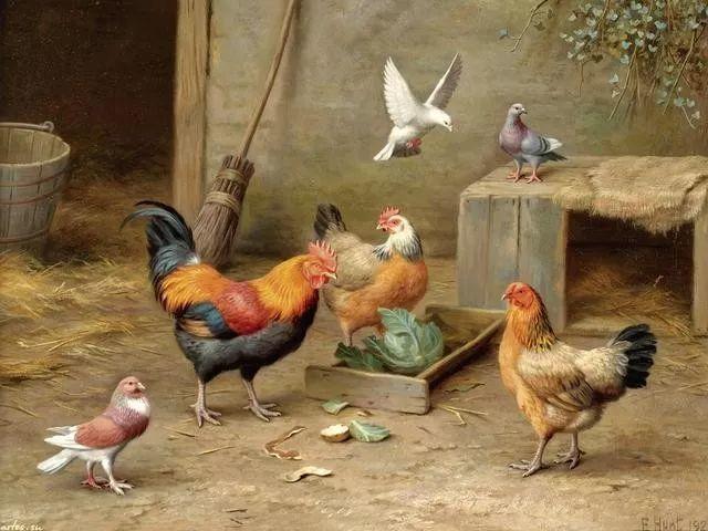 院子里的家禽,英国画家埃德加·亨特插图19