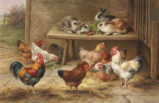院子里的家禽,英国画家埃德加·亨特插图21