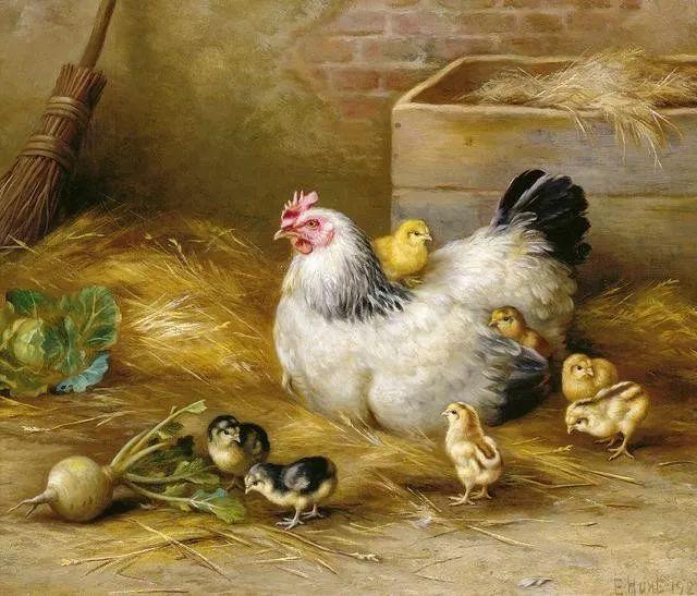 院子里的家禽,英国画家埃德加·亨特插图23