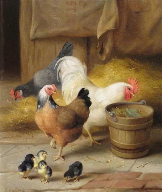 院子里的家禽,英国画家埃德加·亨特插图25