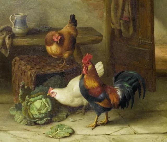 院子里的家禽,英国画家埃德加·亨特插图29