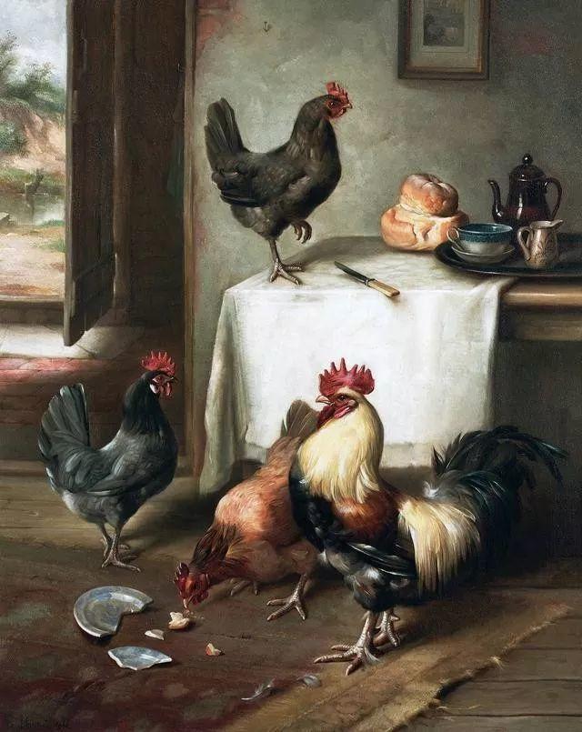 院子里的家禽,英国画家埃德加·亨特插图31
