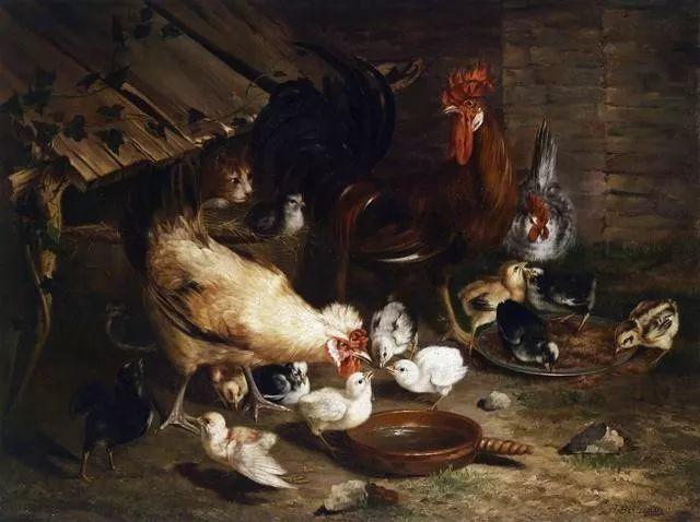 院子里的家禽,英国画家埃德加·亨特插图33
