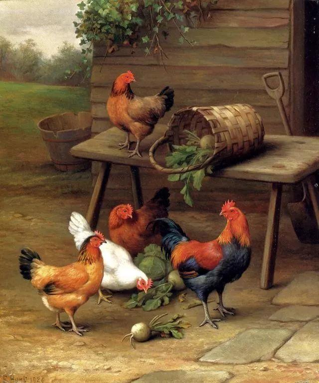 院子里的家禽,英国画家埃德加·亨特插图39