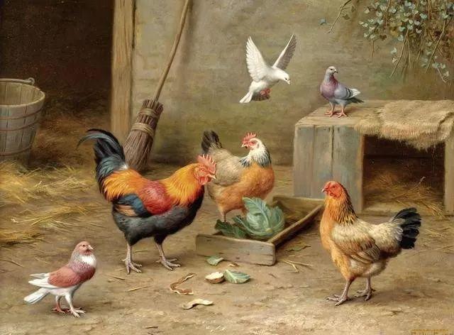 院子里的家禽,英国画家埃德加·亨特插图41